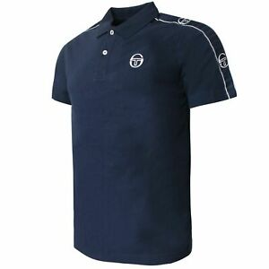 Sergio Tacchini Mens Foley Polo Shirt Taped Navy Top 38731 200