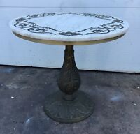 Vintage Marble Top Metal Table Mid Century Modern