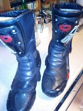 MEN'S  SIDI VERTEBRA BLACK/red LEATHER  ARMOUR MOTORCYCLE  BOOTS SIZE 9 EU 43