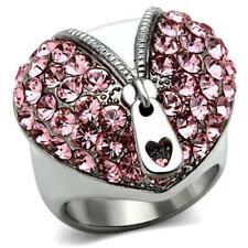 ladies heart ring pink zip burlesque cubic zirconia silver rhodium cz new 652