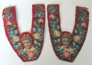 19C. ANTIQUE HAND EMBROIDERED SLIPPERS PATTERNS w/RICH DECORATION