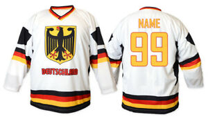 Team Germany Deutschland White Ice Hockey Jersey Custom Name and Number