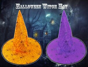 New Halloween Witches Party Hat 2 PACK ORANGE/PURPLE Spider & Cobweb Gift 33cm