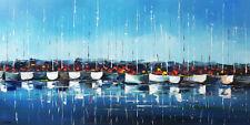 Tableau original, peinture bateaux au port, ciel bleu, peinture toile art déco