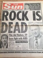 Rock Hudson Obituary Front Page Newspapers The Sun 03/10/1985