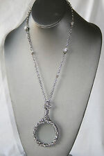 "NEWSilver Tone Magnifier GLASS Pendant Necklace 36"" long chain / White Zirconia"