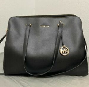 NEW Michael Kors Houston Crossgrain Leather XL Tote Crossbody Bag Black  $358
