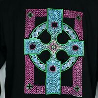 Vintage Fashion Victim Courtney Davis Celtic T-Shirt Long Sleeve L Black USA 90s