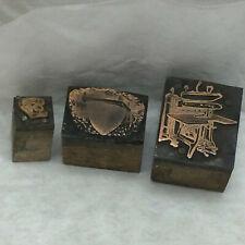 3 Vintage Printing Blocks Telephone, Bee Hive, Machine Designs Metal