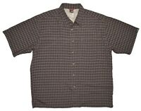 The North Face Short Sleeve Plaid Button Down Shirt Mens Size L Gray Modal