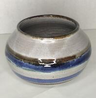 Round Vase Hand Thrown Pottery White Brown Cobalt Blue Planter
