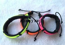 Wholesale lots 200pcs Mixed Color Sports Cuff Ethnic Tribal Leather Bracelets NK
