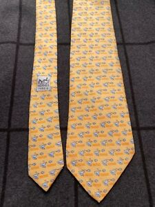 Rare Hermes Paris Made in France Yellow Duck and Fish Pattern Silk Tie 5208 IA