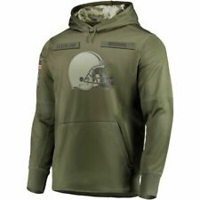 2020 Men's  Cleveland Browns Olive Salute to Service Sideline Therma Hoodie