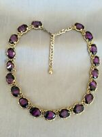 Vintage Amethyst Purple Agate Glass Gold Tone Necklace Victorian Sphinx Style