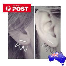 1 x PAIR Lotus Double Sided Stud Earring silver Fashion Jewelry Trendy fun Ear