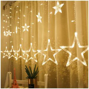 Fairy Stars String Lights 12-Star 138 LED Curtain Icicle Light Christmas Wedding