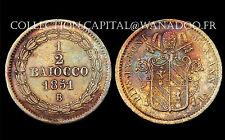 1/2 Baiocco 1851 B, Stato Pontificio (VATICAN) Pius IX°, an VI. Bronze