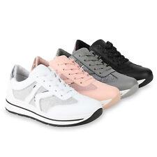 Damen Plateau Sneaker Lack Glitzer Turnschuhe Schnürer Sportschuhe 821583 Schuhe