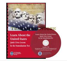 2018 Quick Lesson Civics Lessons Naturalization test Book With Audio CD - bundle