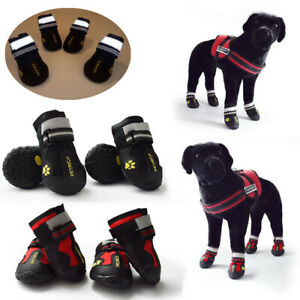 4X Reflective Dog Shoes Waterproof Anti-slip Rubber Rain Snow Boots Protect PawC