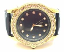 Womens Picard CIE Analog Watch Faux Black Patent Wristband Rhinestone Gold Face