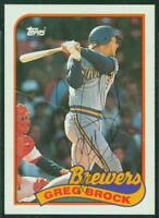 Original Autograph of Greg Brock of the Brewers on a 1989 Topps Card