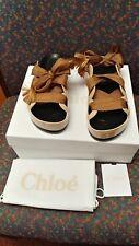 New Chloe Lace-Up Leather Platform Slides, Beige, 39/9, retail $595