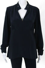 Derek Lam Navy Blue Silk V Neck Long Sleeve Gathered Bust Blouse Top Size 8