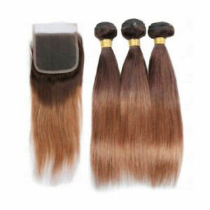 12A BRAZILIAN HUMAN HAIR WEFT 3BUNDLE+LACE TOP CLOSURE 4/30# ROOT 0MBRE STRAIGHT