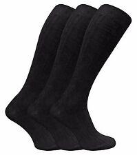 3 Pairs Mens Extra Long 100% Cotton Knee High Thin Light Ribbed Dress Socks