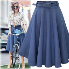 Women Ladies High Waist Denim Skirt Retro Long Flared A line Midi Skirt Dress