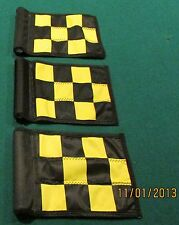 "PUTTING GREEN FLAGS -  SET OF 3 BLACK & YELLOW CHECKERED - SIZE 6""X8"""