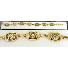 Damascene Gold Link Bracelet Rectangle Geometric by Midas of Toledo Spain 2056