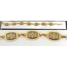 Damascene Gold Link Bracelet Rectangle Geometric by Midas of Toledo Spain 2056