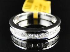 Solid 14K White Gold Mens Princess SI Diamond Invisible Wedding Band Ring 1 Ct