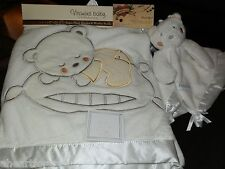 BLANKET & SECURITY LOT 2 WHITE BEAR ANGEL VITAMINS BABY CLOUD SILVER  SET NEW