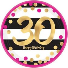 HOT PINK AND GOLD 30th BIRTHDAY LARGE PAPER PLATES (8) ~ Party Supplies Dinner