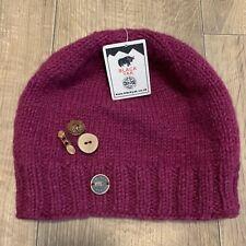 Black Yak Knitted Ladies Womens 100% Wool Fruit Button Beanie Hat Purple WC-357