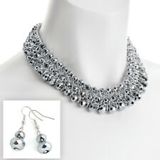 Silver colour woven wire glass crystal layered bead earrings and choker necklace