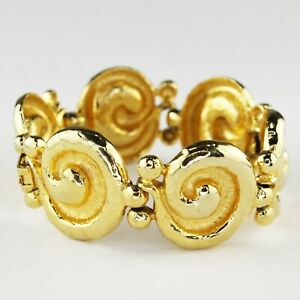 "Bright Gold Tone Spiral Link STATEMENT BRACELET Chunky & Fashionably Loud 7.5"""