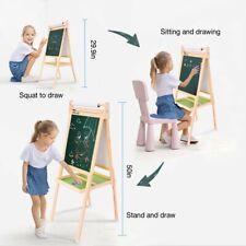 Three-in-one Wooden Children's Double-sided Blackboard Whiteboard W/Painting