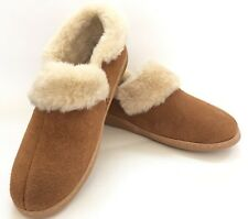 New Propet Brown Suede Slipper Shoes Womens Size 9 Faux Shearling Fur NWOB Soles