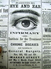 1874 Harrisburg PA newspaper wth large illustrated EYE & EAR INFIRMARY DOCTOR AD
