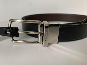 NWT Coach Men Modern Harness Cut-to-Size Reversible Belt Black/Dk Brown F64284