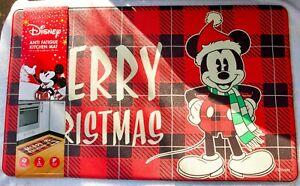 "Disney Mickey Merry Christmas Anti Fatigue Non-Slip Kitchen Mat 18'X30"" New"