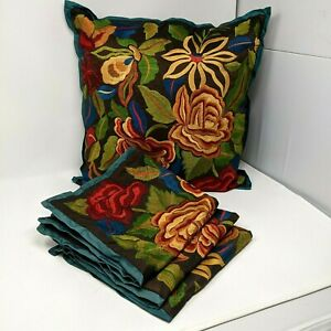 4 PIER 1 Imports Pillow covers Brown CARAFE Bright Floral Crewel embroidered
