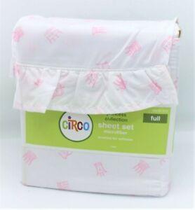 Circo FULL Pink Princess Crowns Sheet Set Fitted Flat Pillowcases 4 pc