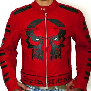4LIMIT Sports Motorrad Rocker Jacke Biker Lederjacke Motorradjacke rot skull