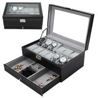 12 Grids Slots Watches Display Storage Box Case PU Leather Double Layers DI